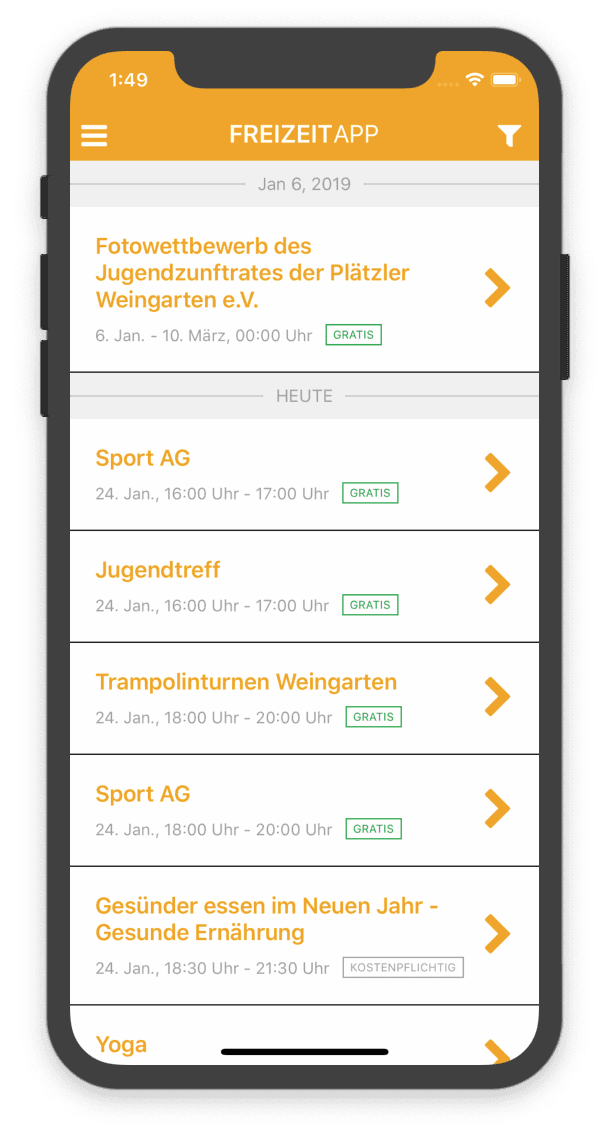 freizeitapp Screenshot 1
