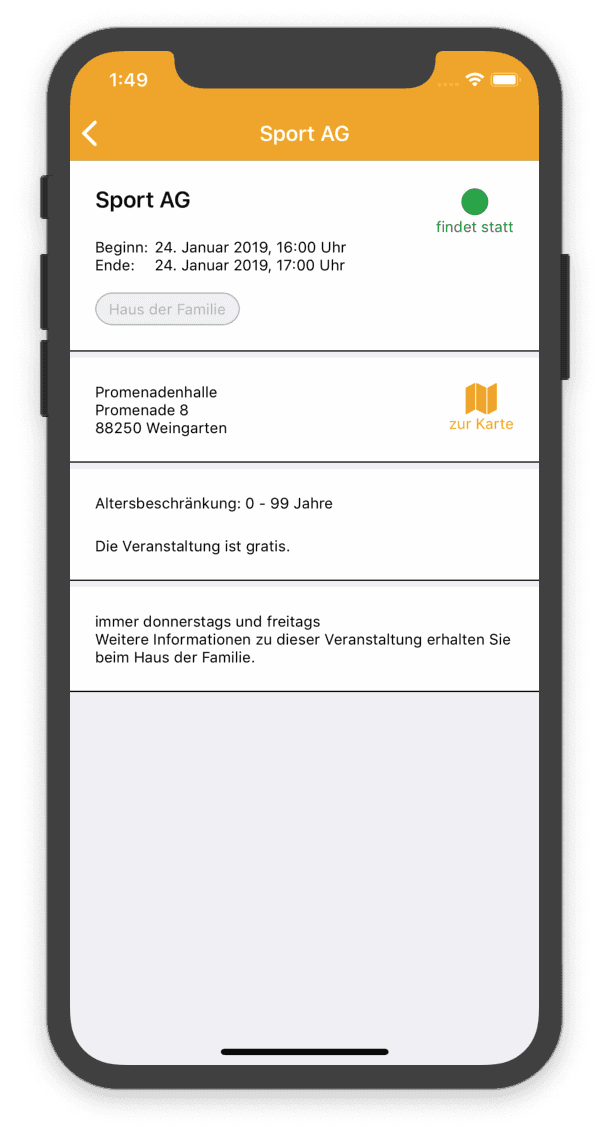 freizeitapp Screenshot 2